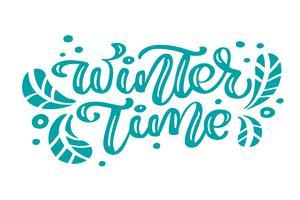 Testo di vettore dell'iscrizione di calligrafia dell'annata di Natale blu di tempo di inverno con l'inverno che disegna la decorazione scandinava. Per il design artistico, stile brochure mockup, copertina idea banner, volantino stampa opuscolo