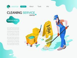 La donna vestita in uniforme lava il pavimento in ufficio. Servizio di pulizia professionale con attrezzatura e personale.