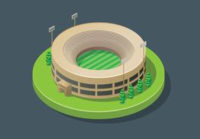 Stadio del cricket isometrico vettore