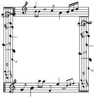Modello di confine con musicnotes su sfondo bianco vettore