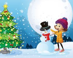 Tema di Natale con ragazza e pupazzo di neve