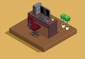 Stile isometrico della stanza di lavoro