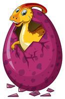 Dinosauro in uovo viola vettore