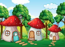 Casa dei funghi incantata in natura vettore