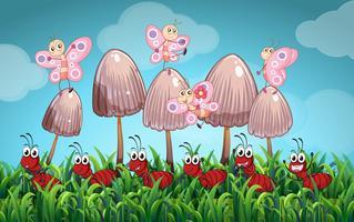 Scena con farfalle e formiche in giardino vettore