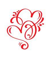 Cuori calligrafici disegnati a mano di giorno di biglietti di S. Valentino di vettore rosso delle coppie due. Illustrazione lettering calligrafia. San Valentino di elemento di design di vacanza. Icona love decor per web, matrimonio e stampa. Isolato