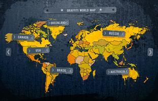 Grunge dipinta mappa del mondo