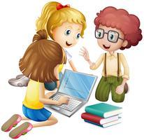 Tre bambini che lavorano al computer vettore