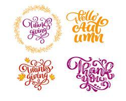 Insieme di frasi di calligrafia Ciao autunno, grazie per il giorno del ringraziamento. Holiday Family Positive cita lettering. Elemento di tipografia di progettazione grafica di cartolina o poster. Vettore scritto a mano