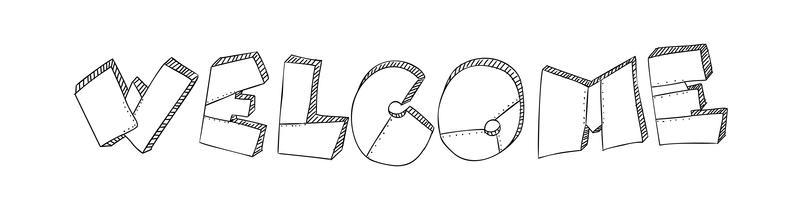 La parola di benvenuto è fatta sotto forma di lastre di metallo con rivetti. Stile brutale del grunge. Frase di illustrazione vettoriale di tipografia per il web, design