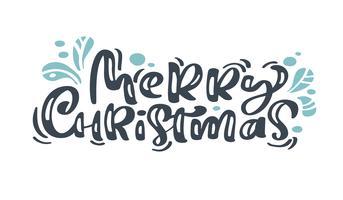Il testo d'annata di vettore dell'iscrizione di calligrafia di Buon Natale con l'inverno disegna la decorazione flourish scandinava. Per il design artistico, stile brochure mockup, copertina idea banner, volantino stampa opuscolo, poster