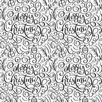Modello senza cuciture per Natale su uno sfondo bianco con elementi di Natale vettore fiorire di calligrafia. Bello modello per una lussuosa carta da regalo, t-shirt, biglietti di auguri