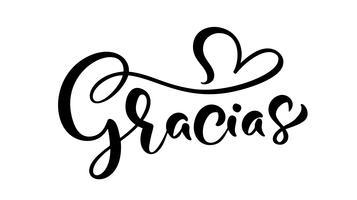 """""""Gracias"""" (""""Grazie"""" in spagnolo) lettere scritte a mano vettore"""