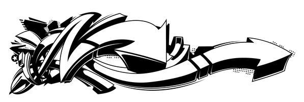 Sfondo di graffiti in bianco e nero vettore