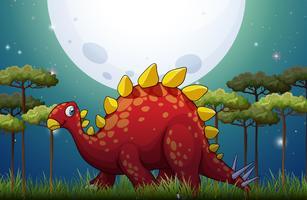 Dinosauro in campo durante la notte di luna piena