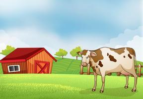 Una mucca nella fattoria con un fienile vettore