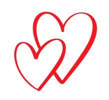 Cuori calligrafici disegnati a mano di giorno di biglietti di S. Valentino di vettore rosso delle coppie due. San Valentino di elemento di design di vacanza. Icona love decor per web, matrimonio e stampa. Illustrazione di lettering calligrafia isolato