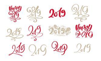 Insieme del modello di scheda di disegno del testo 2019 di Natale di lettering calligrafico scandinavo di vettore. Tipografia creativa per poster regalo di auguri di vacanza. Banner stile font calligrafia vettore