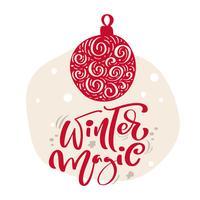 Palla di illustrazione scandinava disegnata a mano. Winter Magic calligrafia vettoriale lettering testo. biglietto di auguri di Natale. Oggetti isolati