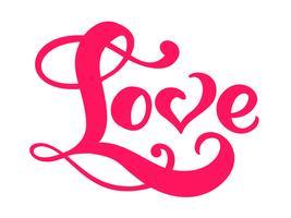 Parola di calligrafia rossa amore. Iscrizione disegnata a mano di giorno di San Valentino di vettore. Cartolina di San Valentino cuore Holiday Design. amo l'arredamento per il web, il matrimonio e la stampa. Illustrazione isolato vettore