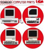 Retro computer - attrezzatura, CPU, CD e floppy disk, vecchio computer, ENV, vettore
