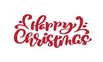 Testo di vettore dell'iscrizione di calligrafia dell'annata rosso di buon Natale. Per la pagina di elenco design modello di arte, stile opuscolo mockup, copertura idea banner, volantino stampa opuscolo, poster