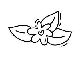 Fiore di vettore monoline con cuore. Icona disegnata a mano di San Valentino. Doodle di schizzo di vacanza San Valentino elemento di design. amo l'arredamento per il web, il matrimonio e la stampa. Illustrazione isolato