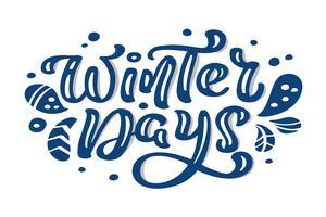 Testo di vettore dell'iscrizione di calligrafia dell'annata di Natale blu di giorni di inverno con l'inverno che disegna la decorazione scandinava. Per il design artistico, stile brochure mockup, copertina idea banner, volantino stampa opuscol