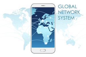 Illustrazione di concetto di sistema di rete globale. vettore