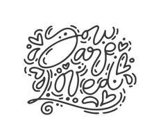 Frase di calligrafia monoline vettoriale Sei amato. Lettering disegnato a mano di San Valentino. Doodle di schizzo di cuore vacanza Disegno cartolina di San Valentino. amo l'arredamento per il web, il matrimonio e la stampa. Illustrazione isolato