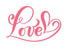 Parola rossa calligrafia amore vettore