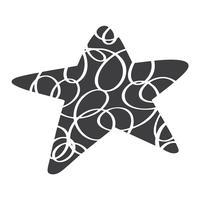 Stella di vettore scandinavo di Natale. Immagine del catroon della siluetta di Handdraw per progettazione della cartolina d'auguri, decorazione sul cuscino, maglietta