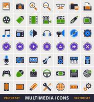 Insieme di vettore delle icone semplici multimediali