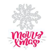 Merry Xmas calligraphy lettering testo. Cartolina d'auguri scandinava di Natale con il fiocco di neve stilizzato dell'illustrazione disegnata a mano di vettore. Oggetti isolati