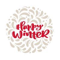 Il testo felice di vettore di natale dell'iscrizione di calligrafia dell'annata felice con l'inverno disegna la decorazione flourish scandinava. Per il design artistico, stile brochure mockup, copertina idea banner, volantino stampa opuscolo,