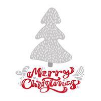 Abete scandinavo disegnato a mano dell'illustrazione. Testo dell'iscrizione di vettore di calligrafia di Buon Natale. biglietto di auguri di Natale. Oggetti isolati