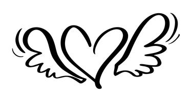 Vector il cuore calligrafico disegnato a mano di giorno di biglietti di S. Valentino con le ali. San Valentino di elemento di design di vacanza. Icona love decor per web, matrimonio e stampa. Illustrazione di lettering calligrafia isolato