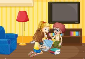 Tre bambini che lavorano in gruppo a casa vettore