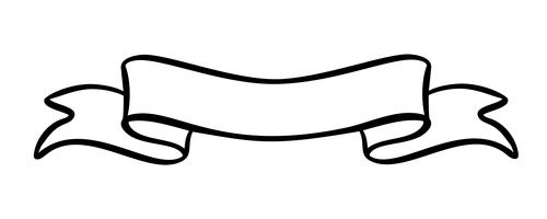 Illustrazione vettoriale vintage ribbon element con posto per il testo. Progettazione disegnata a mano dell'insegna di scarabocchio di schizzo isolata su fondo bianco