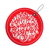 Testo dell'iscrizione di vettore di calligrafia del buon anno e di Buon Natale nell'etichetta rossa. biglietto di auguri di Natale scandinavo. Oggetti isolati