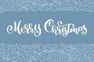 Testo d'annata di vettore bianco di Buon Natale. Modello di carta di disegno di iscrizione calligrafica. Tipografia creativa per poster regalo di auguri di vacanza. Banner stile font calligrafia