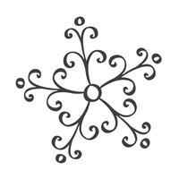 Segno di fiocchi di neve handdraw scandinavo. Inverno design elemento illustrazione vettoriale. Icona nera del fiocco di neve isolata su fondo bianco. Sagome di fiocchi di neve. Simbolo di neve, vacanza, tempo freddo, gelo vettore