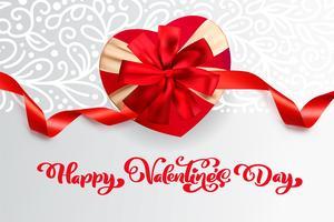 Vector testo Happy Valentines Day design tipografia per biglietti di auguri e poster. Citazione di San Valentino su uno sfondo rosso vacanze. Illustrazione di celebrazione del modello di progettazione
