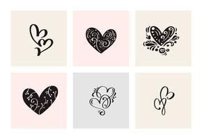 Un insieme di sei cuori calligrafici disegnati a mano di vettore d'annata di giorno di biglietti di S. Valentino. Illustrazione lettering calligrafia. Holiday Design San Valentino. Icona love decor per web, matrimonio e stampa. Isolato