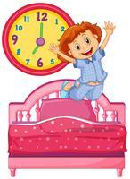Bambina svegliarsi dal letto vettore