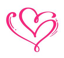 Cuori calligrafici disegnati a mano di giorno di biglietti di S. Valentino rossi di vettore delle coppie. Elemento di design di vacanza. Icona valentine love decor per web, matrimonio e stampa. Illustrazione di lettering calligrafia isolato