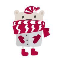 Design in stile scandinavo natalizio. Illustrazione vettoriale disegnato a mano di un simpatico orso inverno carino in un silenziatore, andando a fare una passeggiata. Oggetti isolati su sfondo bianco. Concetto per abbigliamento per bambini, stampa vivaio