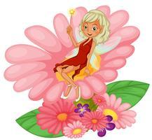 Una fata seduta su un fiore rosa