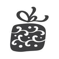 Siluetta dell'icona di vettore del giftbox di Natale. Semplice simbolo di contorno regalo. Isolato sul kit di segno web bianco di abete rosso stilizzato. Immagine scandinava Handdraw