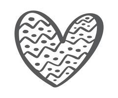 Il cuore scandinavo disegnato a mano di giorno di Velentines con l'ornamento fiorisce la siluetta dell'icona del biglietto di S. Valentino. Vector Semplice simbolo di contorno. Elemento di design isolato per web, matrimonio e stampa